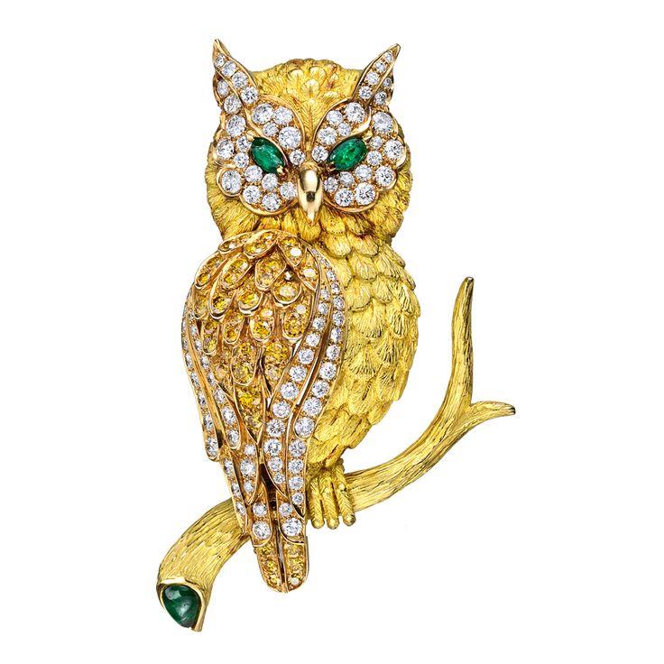 Betteridge Collection Large 18k Gold & Gem-Set Owl Pin
