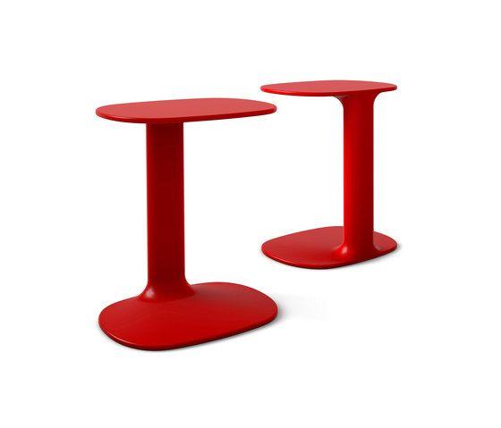 Segis Teddygirl - Bijzettafel Teddygirl is net groot genoeg voor een laptop of tablet en een kop koffie. Door de kenmerkende vorm van het blad en de voet kan het tafeltje gemakkelijk dichtbij een sofa of fauteuil worden getrokken. Op die manier is het gebruik dus optimaal functioneel. Volledig uitgevoerd in gelakte kunsthars en te bestellen in wit, grijs of rood.