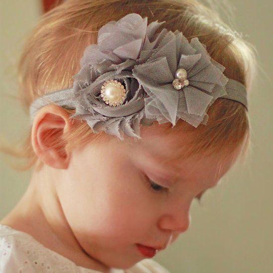 Baby haarbandje chiffon en tule bloemen (grijs)
