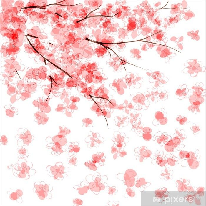 Background With Blooming Japanese Cherry Tree Wall Mural Pixers We Live To Change In 2021 Japanese Cherry Tree Cherry Blossom Wall Art Japanese Watercolor