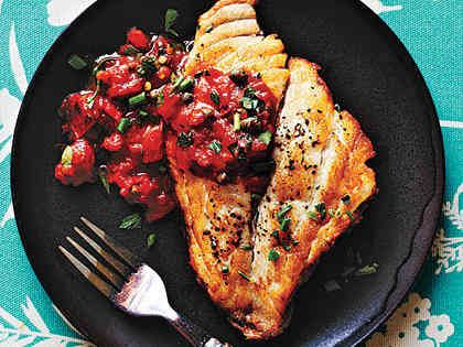 For this Pan-Roasted Fish with Mediterranean Tomato Sauce recipe, Chef Ed Kenney uses Hawaiian fish such as mahimahi and onaga (long-tailed snapper), but any type of meaty, white fish like snapper will work. Use U.S. wild-caught yellowtail snapper; avoid red snapper.