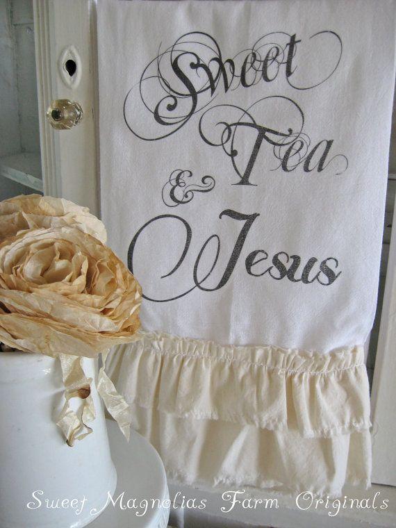 Flour Sack Towel, double ruffle designed by SweetMagnoliasFarm, .....18.00 sweet Magnolias Farm Design ©