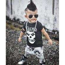 Nouveau-né Garçons Filles Bébé Vêtements Ensembles Cavaliers Bébé Automne Crâne Impression Bébé punk rock Harlan Pantalon Moto Vêtements(China (Mainland))