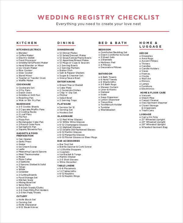 Things To Register For Wedding: Wedding-registry-checklist-pdf