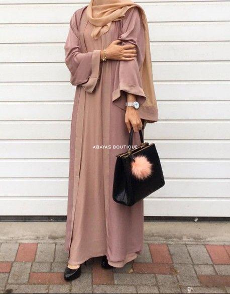 Dusky Pink Twin Set 2 in 1 abaya