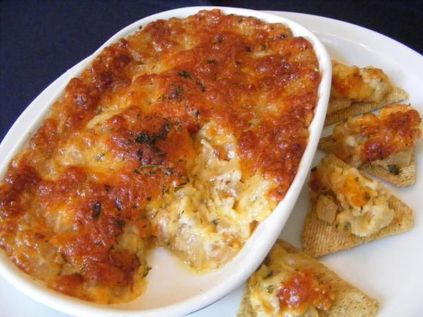 Baked Onion Dip: Chop one large Vadalia onion, mix it with one cup of mayo and one cup of Parmesan cheese.  Bake at 375 for 20 minutes.  Serve with crackers.  Easy and delicious!