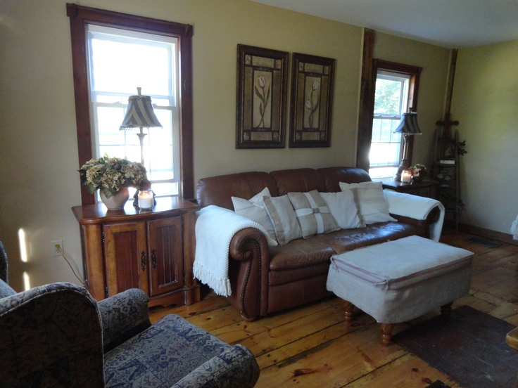 Brown Leather Paint Drop Cloth Pillows And Dark Wood Trim Home Brown L