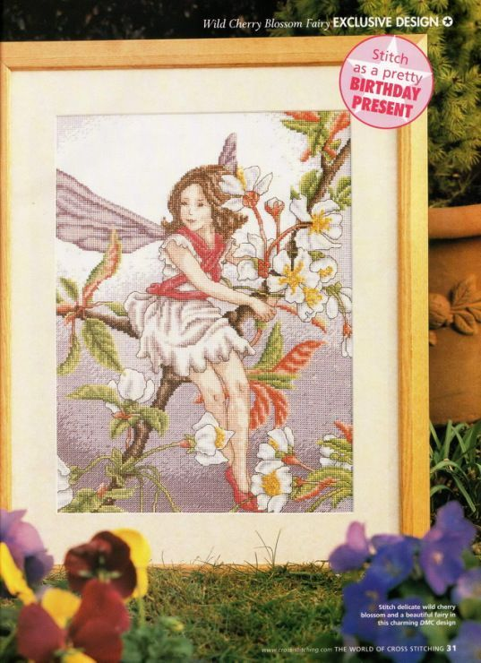 Flower Fairies The Wild Cherry Blossom Fairy The World of Cross Stitching  Issue 73 July 2003 Saved