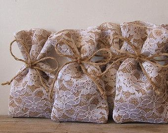 Sample burlap and lace favor bag by Littlewhiteboutique on Etsy