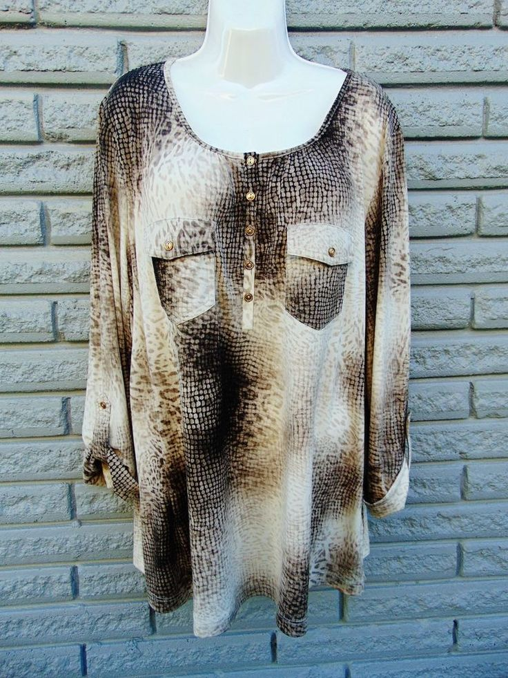 Dressbarn Woman Plus Tops 2X Blouse Shirt Tunic Cream/Brown Polyester Spandex #Dressbarn #Blouse #Casual