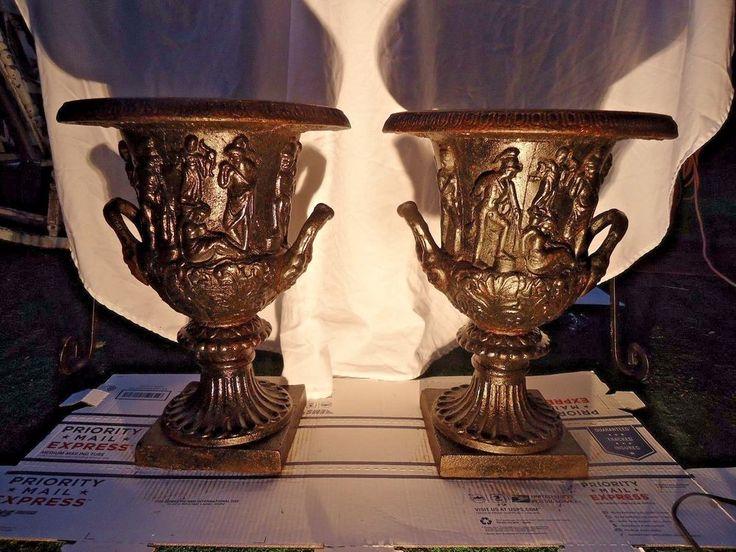 ANTIQUE CAST IRON CAST URN , LARGE GARDEN URNS GRECO ROMAN NEO CLASSICAL PERIOD  #CASTIRON