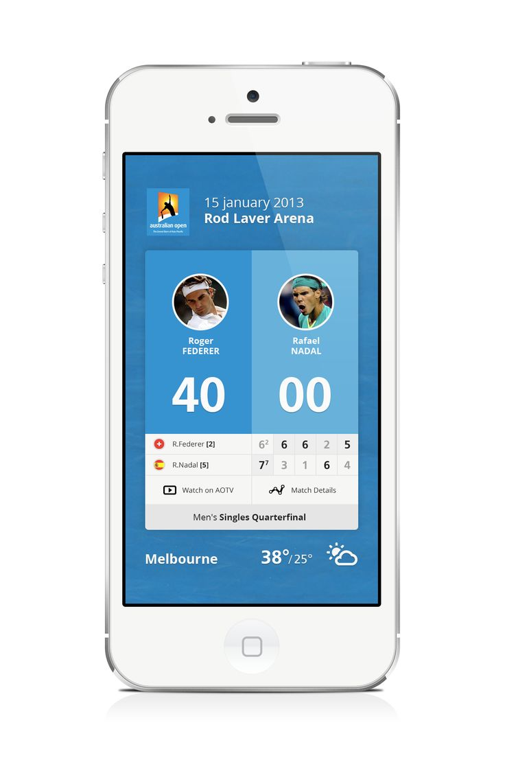 Tennis - Mobile app interface UI UX