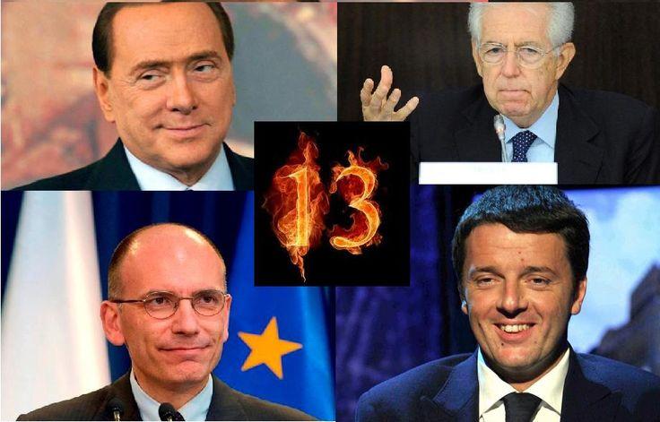 Il numero 13 circonda la politica italiana. Letta cade il 13 febbraio.