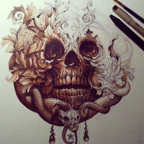 skull snake pencil pen shading | amazing crazy art ...