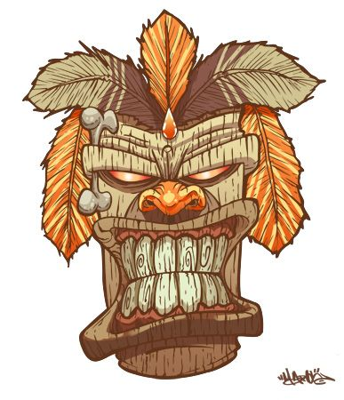 Totem Tiki Tattoo Mask