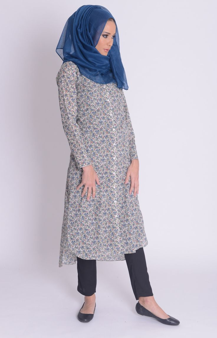 Ditsy Summer Floral Shirt Dress #Aab #WhatsNew #NewArrivals #Fashion #Style #Abaya #Hijab http://www.aabcollection.com/shop/product/ditsy-summer-floral-shirt-dress/712#