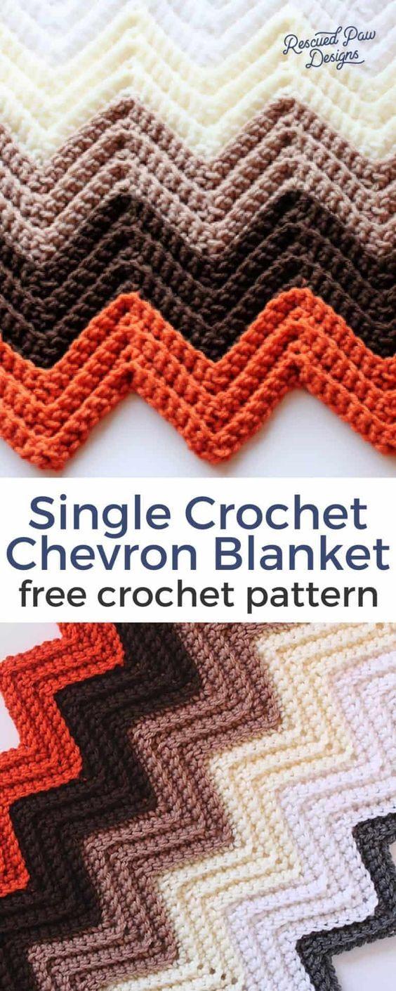 Chevron Crochet Blanket Pattern - Desenhos de pata resgatados