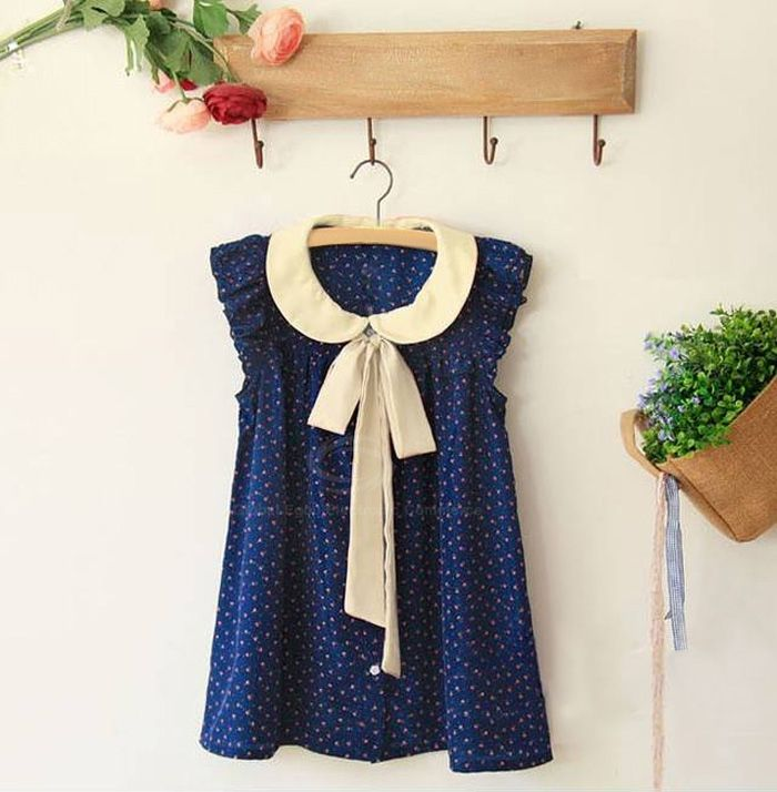 Preppy Style Tiny Floral Print Flounce Flying Sleeve Summer Chiffon Shirt For Women (BLUE,ONE SIZE) | Sammydress.com