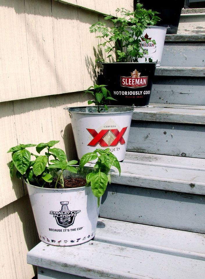 Beer Bucket Herb Planters