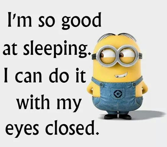 I'm so good at sleeping I can do it with my eyes closed. - minion