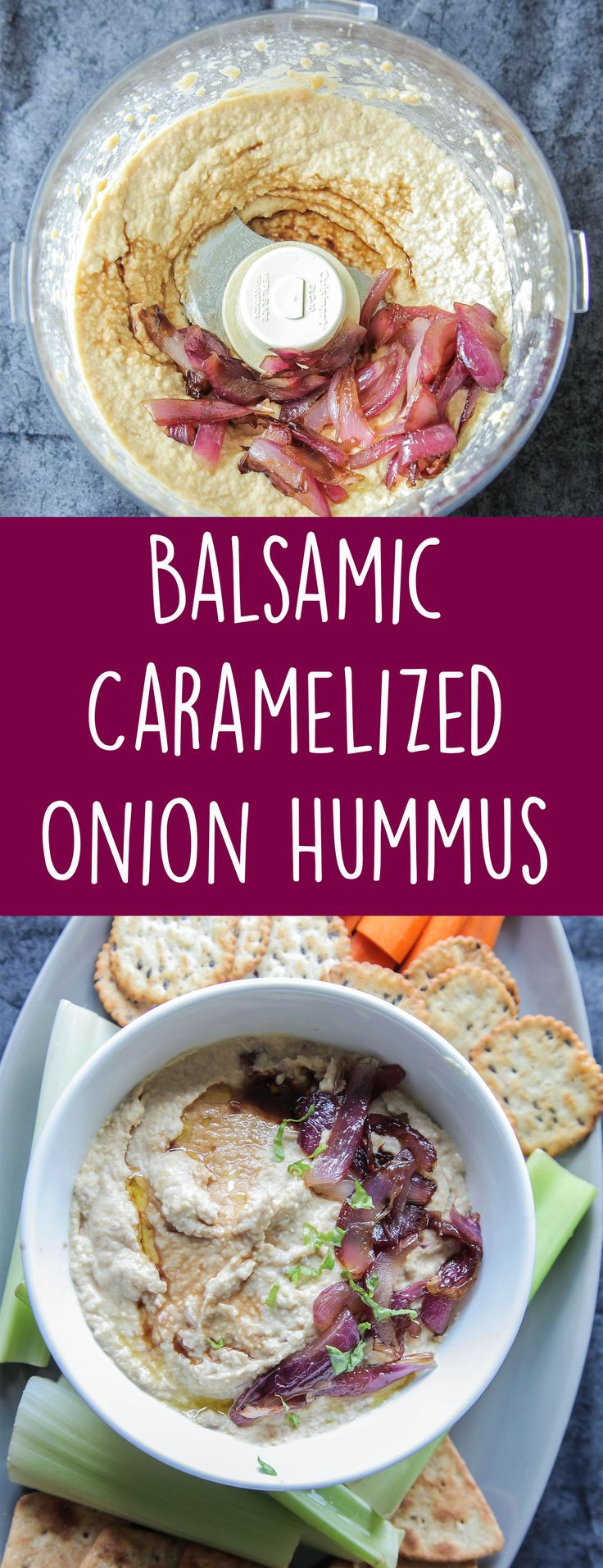 Balsamic Caramelized Onion Hummus (Vegan + Gluten Free) - A creamy flavorful hummus that's loaded with balsamic vinegar and caramelized onions. Perfect for dipping veggies, crackers, or using in sandwiches. #vegan #plantbased #hummus #caramelizedonion #appetizer #dips #onions #easyrecipe #dairyfree #glutenfree