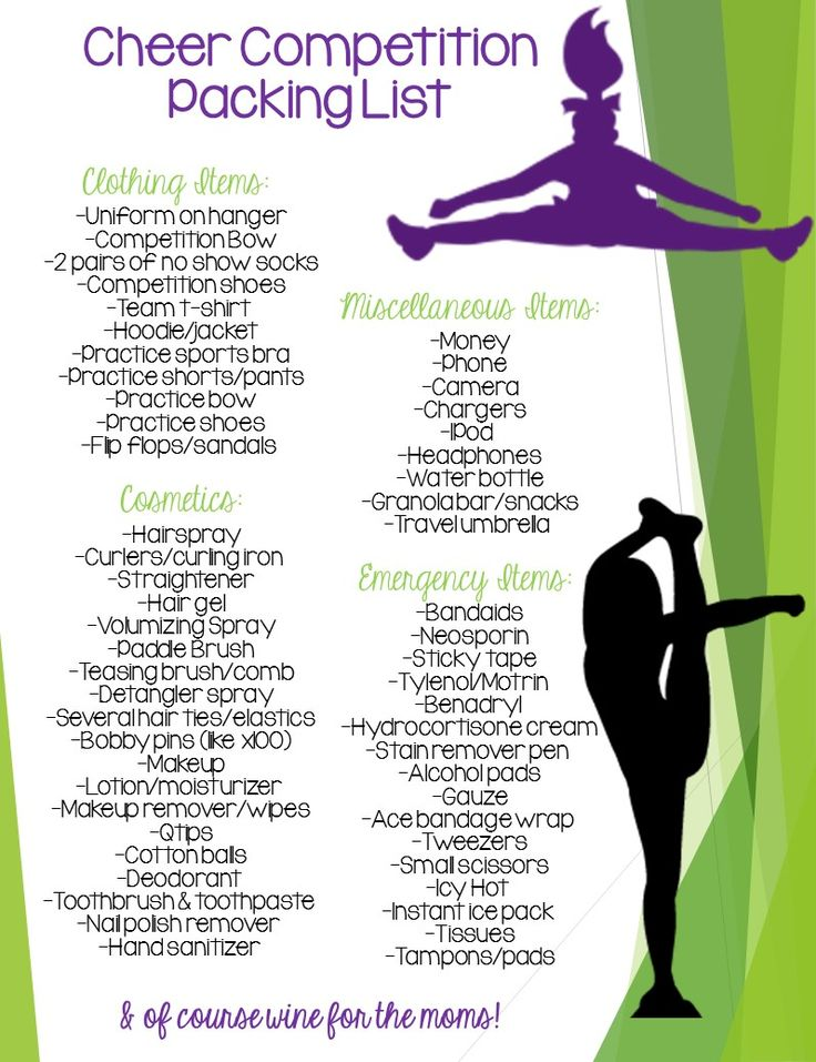 Ultimate Cheer Competition Packing List! Always be prepared, you never know what you'll need!