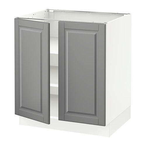 SEKTION Base cabinet with shelves/2 doors, white, Bodbyn gray white Bodbyn gray 30x24x30