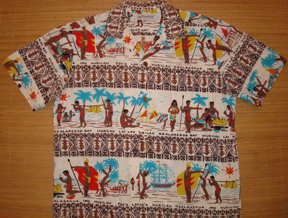 Mens Vintage 50s Duke Kahanamoku Hawaiian Aloha by thehanashirtco,..
