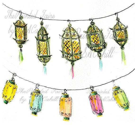 Outdoor Party Lights Clipart: Party Lanterns Clip Art, Lantern Graphics, Printable Party