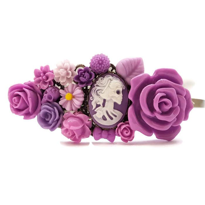 Skull Headband-Purple-Cameo Crown-Prom Headband-Bridesmaid Headpiece-Bridal Fascinator-Skull Floral Comb-Hair Pin-Day of the Dead-Skull Lady