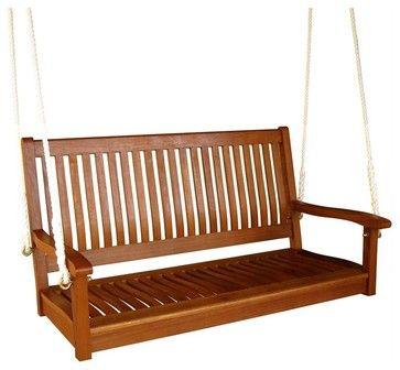 "International Caravan Outdoor 48"" Two Seater Wood Swing transitional-porch-swings"