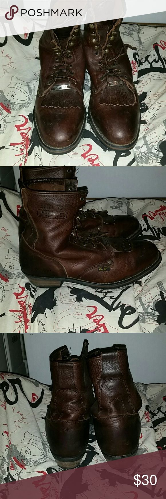 Mens AD-Tec steel toe boots Worn very little bottom soles show very very little wear at all. Too small Ad Tec Shoes Boots