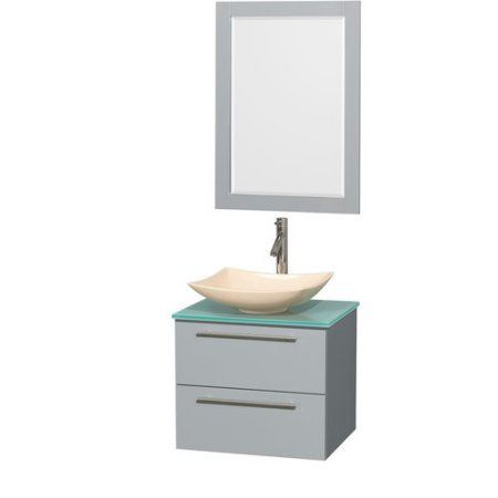 Wyndham Collection Amare 24 inch Single Bathroom Vanity in Dove Gray, Green Glass Countertop, Pyra Bone Porcelain Sink, and 24 inch Mirror