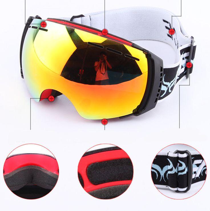 Genuine snowboard ski goggles occhiali gafas anti-fog luxury double lens Big spherical snow motorcycle motocross esqui glasses
