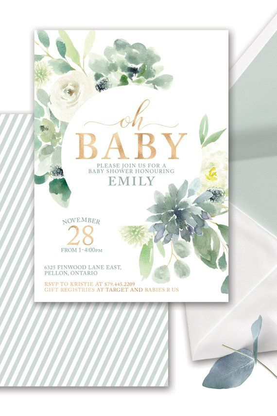 Succulent Baby Shower Invitation Printable Gender Neutral Succulent Greenery Baby Shower Invite Southwestern Baby Shower Gold Simple Modern