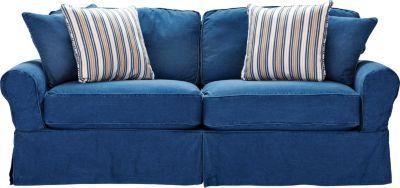cindy crawford home beachside blue denim sofa   play room
