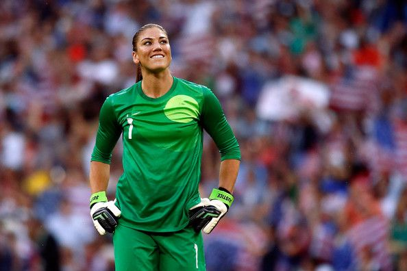 Goalkeeper Hope Solo #1 of United States reacts after Carli Lloyd #10 of United States scores a goal in the first half against Japan during the Women's Football gold medal match on Day 13 of the London 2012 Olympic Games at Wembley Stadium on August 9, 2012 in London, England.