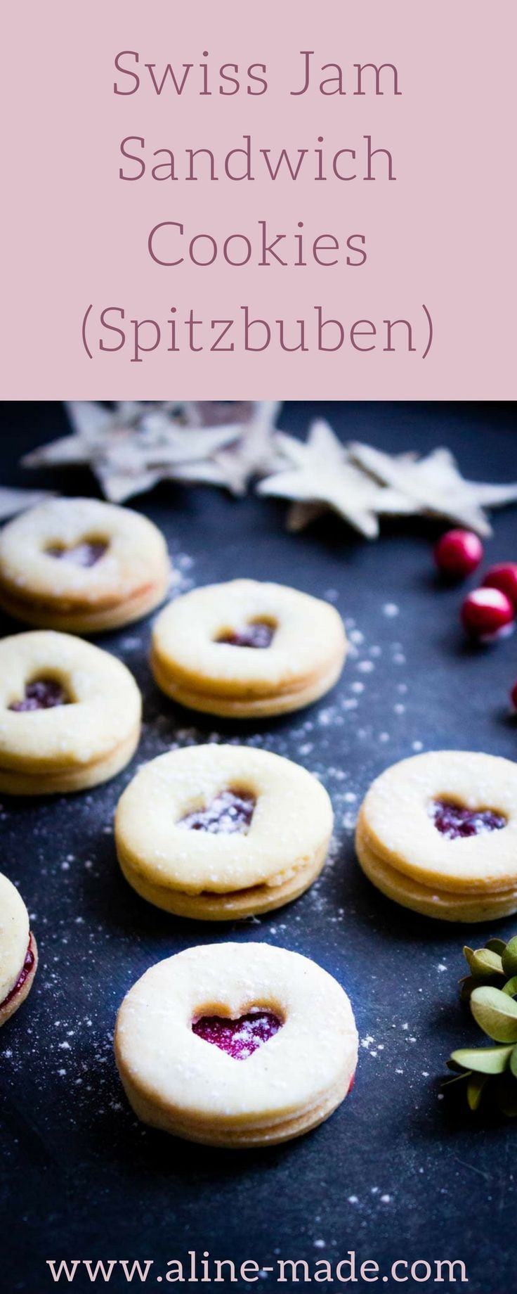 Swiss Jam Sandwich Cookies (Spitzbuben) - Typically Swiss Christmas butter cookies filled with red currant jam!