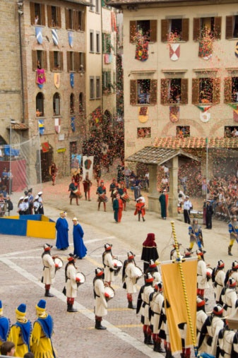 arezzo,Italy  Twice a year – on the first Sunday in September and the second last Saturday in June – the entire town of Arezzo in Tuscany dresses up in medieval garb and goes about the day as if everything went back in time. In the morning, a bishop presides over a mass and citizens parade the city. In the afternoon, the Joust of the Saracens takes place – a medieval jousting tournament!