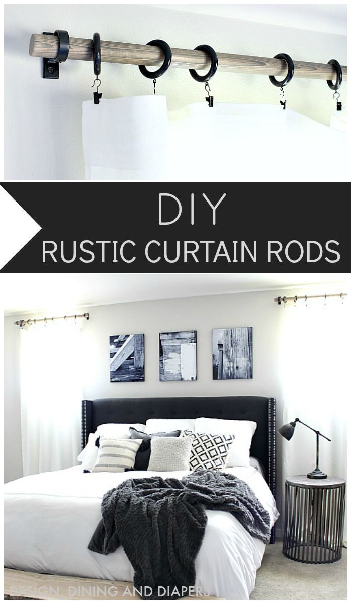 DIY RUSTIC CURTAIN RODS. Love this little detail in a room.