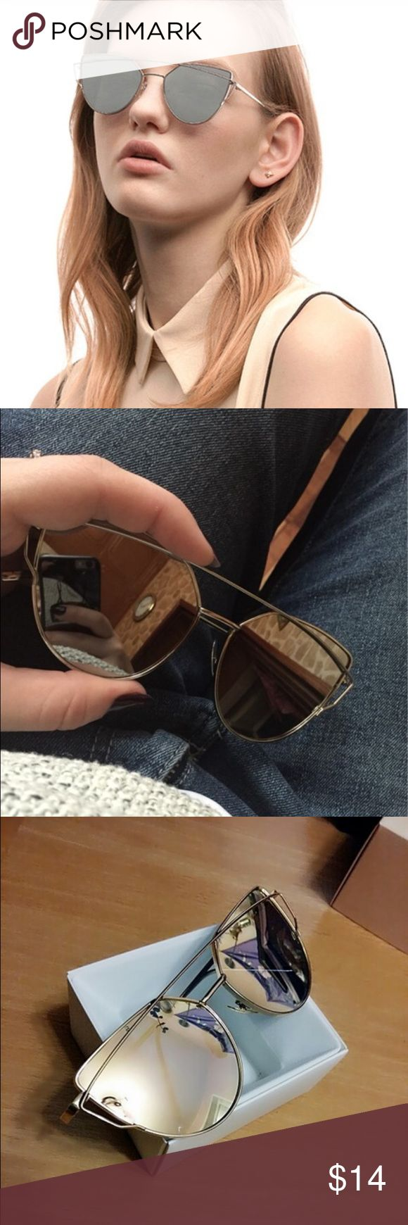 Women's Mirrored Fashionable Sunglasses Women's Fashionable Mirrored Sunglasses. Silver lining and silver frames. These are a show stopper! Accessories Sunglasses