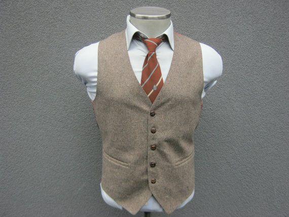 1950s Vintage Brown Tweed Vest / Wool Waistcoat / by BudeVintage