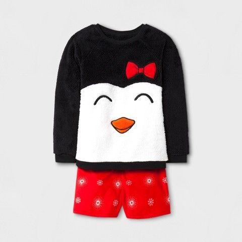 Cat & Jack Girls' Penguin Cozy Long Sleeve Pajama Set With Shorts Black