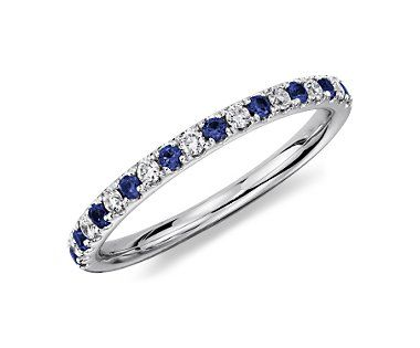 Gorgeous sapphire and diamond band. A gift from my husband on the birth of our second baby (blue for boy and my birthstone!) #BlueNile