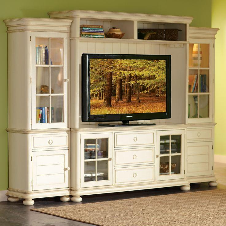 Living Room Furniture Shabby Chic Broken White Entertainment Center With Black Flat Screen Tv