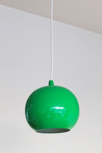 green retro lamp by Rie Elise Larsen