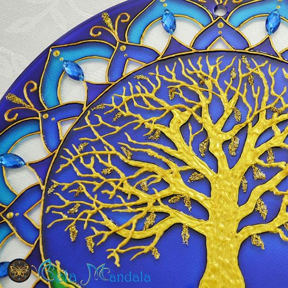Stained Glass Mandala Tree of Happiness and Fortune Blue. made on glass with 25cm diameter. #bela_mandala #belamandala