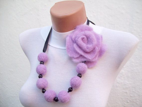 Felted Flower   Necklace Lilac Fall Fashion Holiday by nurlu, $25.00