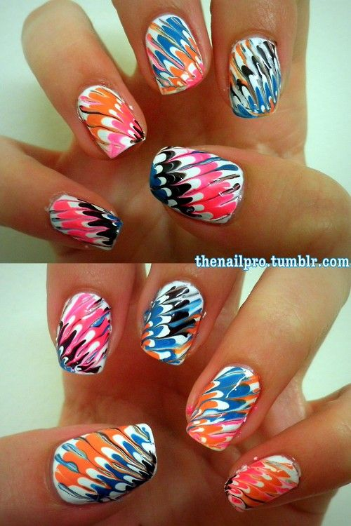 Marbling your nails without waterTies Dyes Nails, Nails Art, Nailart, Nails Design, Hot Nails, Marble Nails, Colors Nails, Nails Polish, Water Marbles Nails