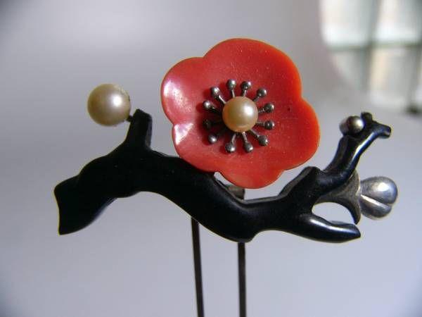 [Kotsuki] antique engraving pearl beading plum floral hairpin (obi Kushikanzashi) _ image 1